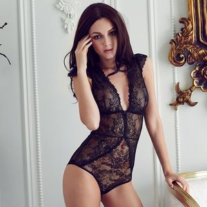 La Femme Deux French Lace Bodysuit